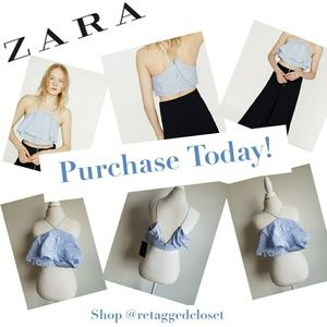 Zara Blue and White Striped Tiered Ruffled Crop To